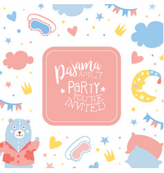 pajama party banner template childish slumber vector image