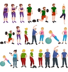 People with different body mass vector image