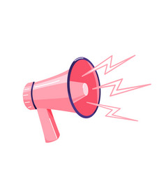 pink megaphone with sound loud effect isolated vector image