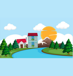 rural village in nature vector image