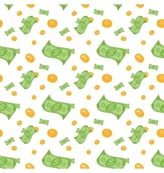 Seamless pattern of money bills and coins vector