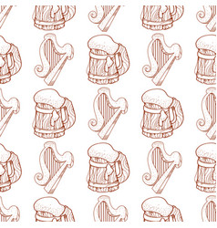 Seamless pattern with a harp and a mug of foamy vector