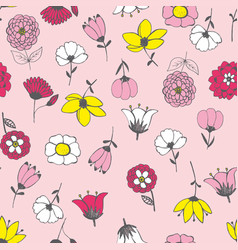 Seamless pattern with chaotically arranged flowers vector