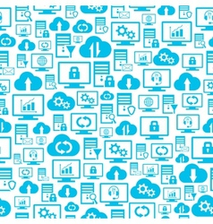 Seamless pattern with hosting cloud icons vector image