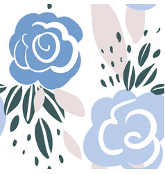 Seamless pattern with roses leaves vector