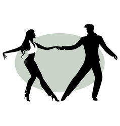 Silhouettes of young couple dancing vector