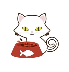 small cat yellow eyes plate food fish print vector image