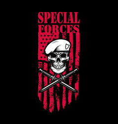 special forces skull in army beret with crossed vector image