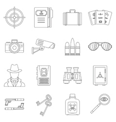 Spy tools icons set outline style vector
