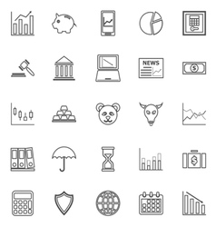 Stock market line icons on white background vector image