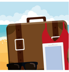 Suitcase travel with sunglasses and smartphone vector
