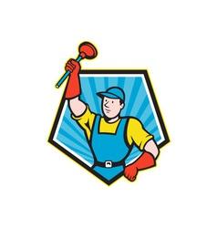 Super Plumber Wielding Plunger Pentagon Cartoon vector image