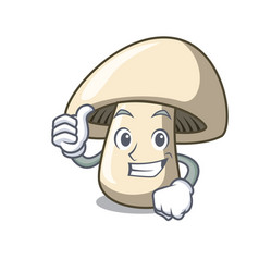 thumbs up champignon mushroom character cartoon vector image
