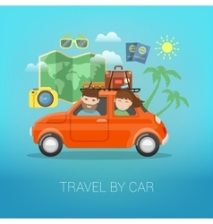 Travel by Car Happy Couple Traveling vector image