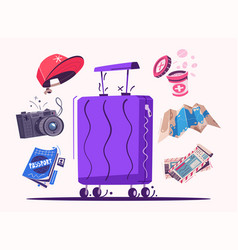 travel icons cartoon set of vector image