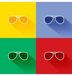 Trendy long shadow flat sunglasses icon set vector