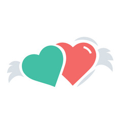 Two hearts with wings red and green color vector