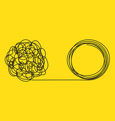 unraveling tangled tangle metaphor problem vector image