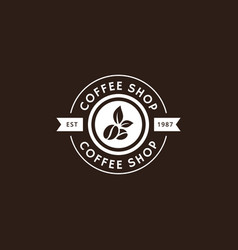 vintage coffee logo and label in white color vector image