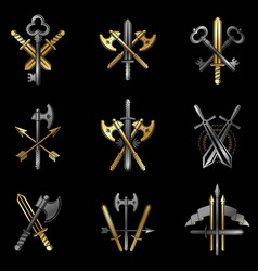 vintage weapon emblems set heraldic coat of arms vector image