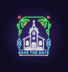 wedding neon invitation card template vector image