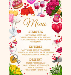 Wedding party menu flowers heart balloons frame vector