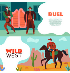 Wild west duel banners vector