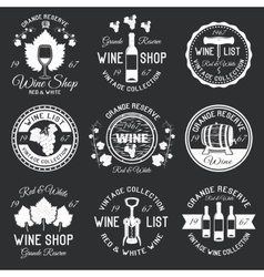 Wine Monochrome Emblems vector image