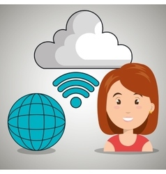 woman cloud wifi icons vector image
