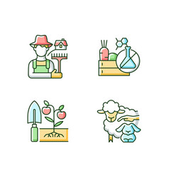 Work on farm rgb color icons set vector