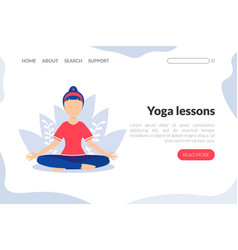 yoga lessons web landing page template young vector image