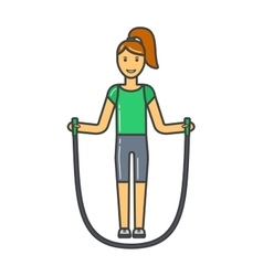 Young girl jumping rope fitness sport training vector