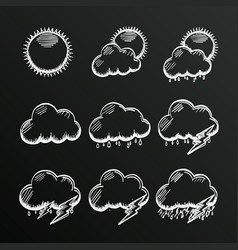 Chalkboard collection clouds icon sketch cloud vector