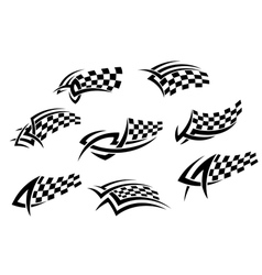 Checkered flags in tribal style vector image vector image