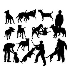 Dog and people activity silhouettes vector