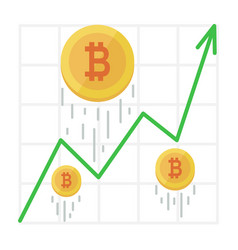 growth bitcoin graph cryptocurrency income chart vector image vector image