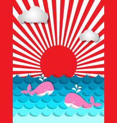Pink whale swimming in the sea with sunshine and vector