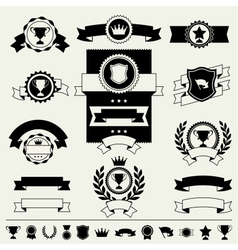 Trophies awards banners ribbons and labels vector