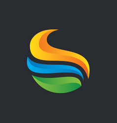 abstract wave 3d business logo vector image