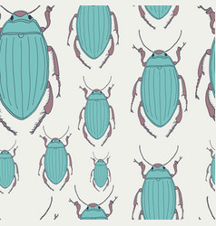 seamless pattern with hand-drawn beetles vector image vector image