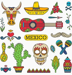 Set of Mexican traditional and cultural elements vector image vector image