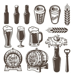 Set of vintage beer and brewery elements vector image vector image