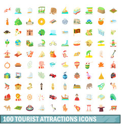 100 tourist attraction icons set cartoon style vector image vector image