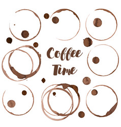 coffee ring set of coffee stains vector image