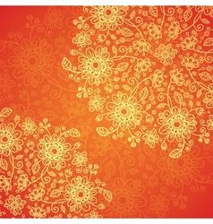 Orange doodle flowers ornate background vector image vector image