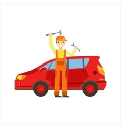 Smiling Mechanic With Wrench And Hammer In The vector image vector image
