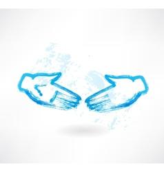 Handshake grunge icon vector