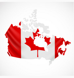 hanging canada flag in form of map canada vector image vector image