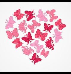 pink heart shape butterfly design vector image