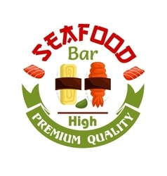 Seafood bar icon Sushi and wasabi vector image vector image
